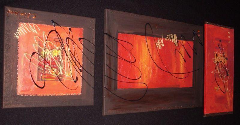 Home deco tableaux abstrait tableau home deco de for Tableau en 3 parties