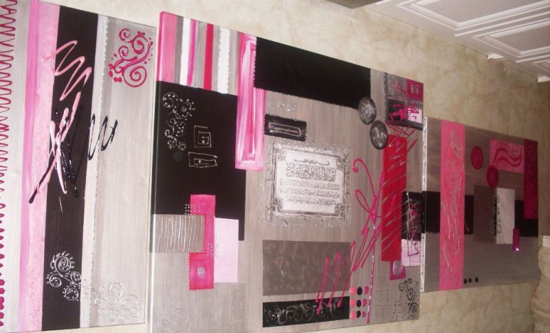 tableau abstrait sourate xxxl fuschia argent noir et blanc tableau home deco de sabine nouaoui. Black Bedroom Furniture Sets. Home Design Ideas