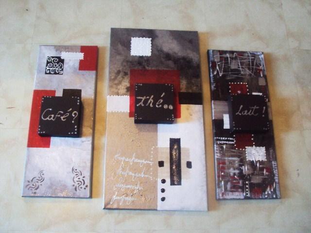 Tableau abstrait pour la cuisine tableau home deco de for Tableau cuisine rouge