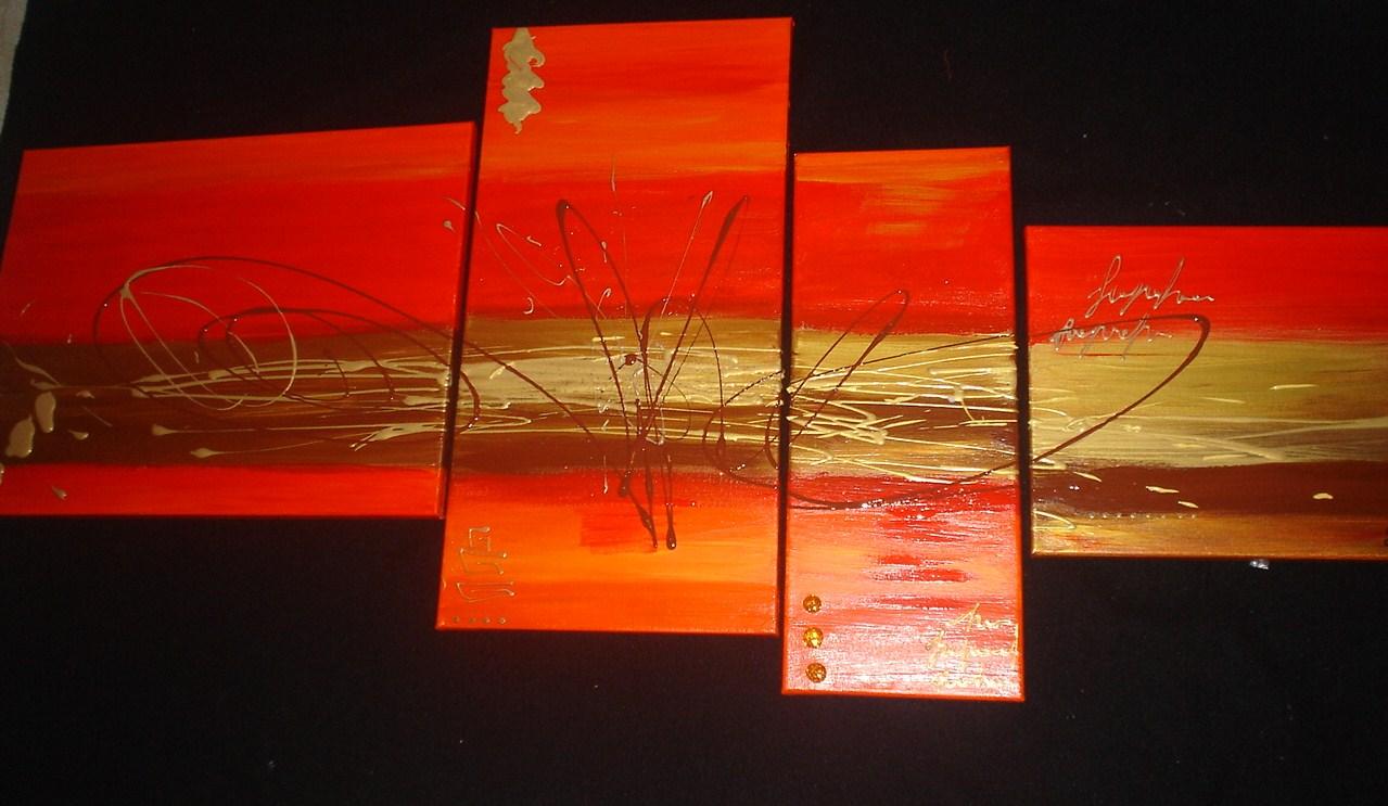 tableau abstrait rouge et or orange · tableau HOME DECO de sabine ...