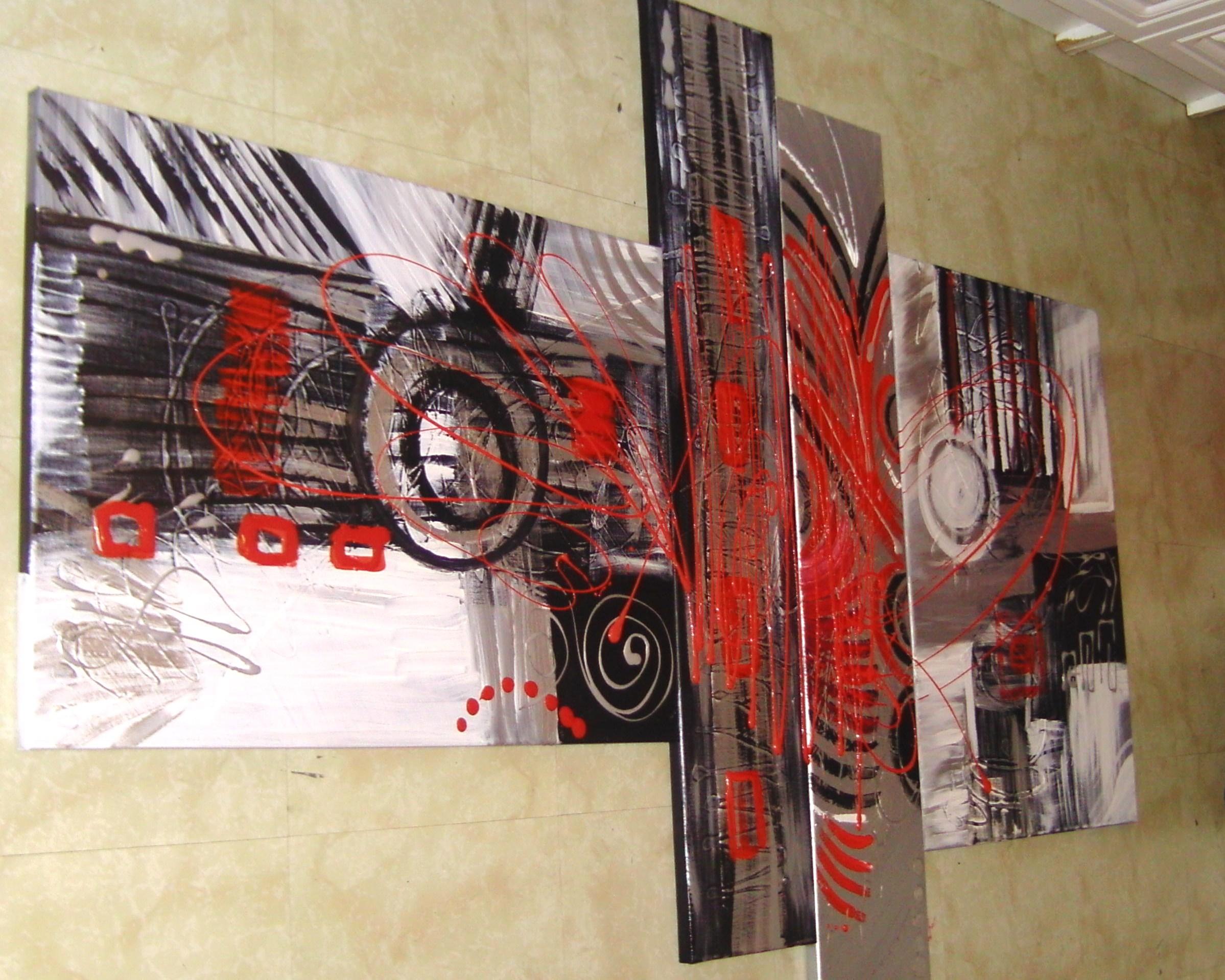 Tableau contemporain rouge pulsion tableau home deco de sabine nouaoui aux - Tableaux tryptiques contemporains ...