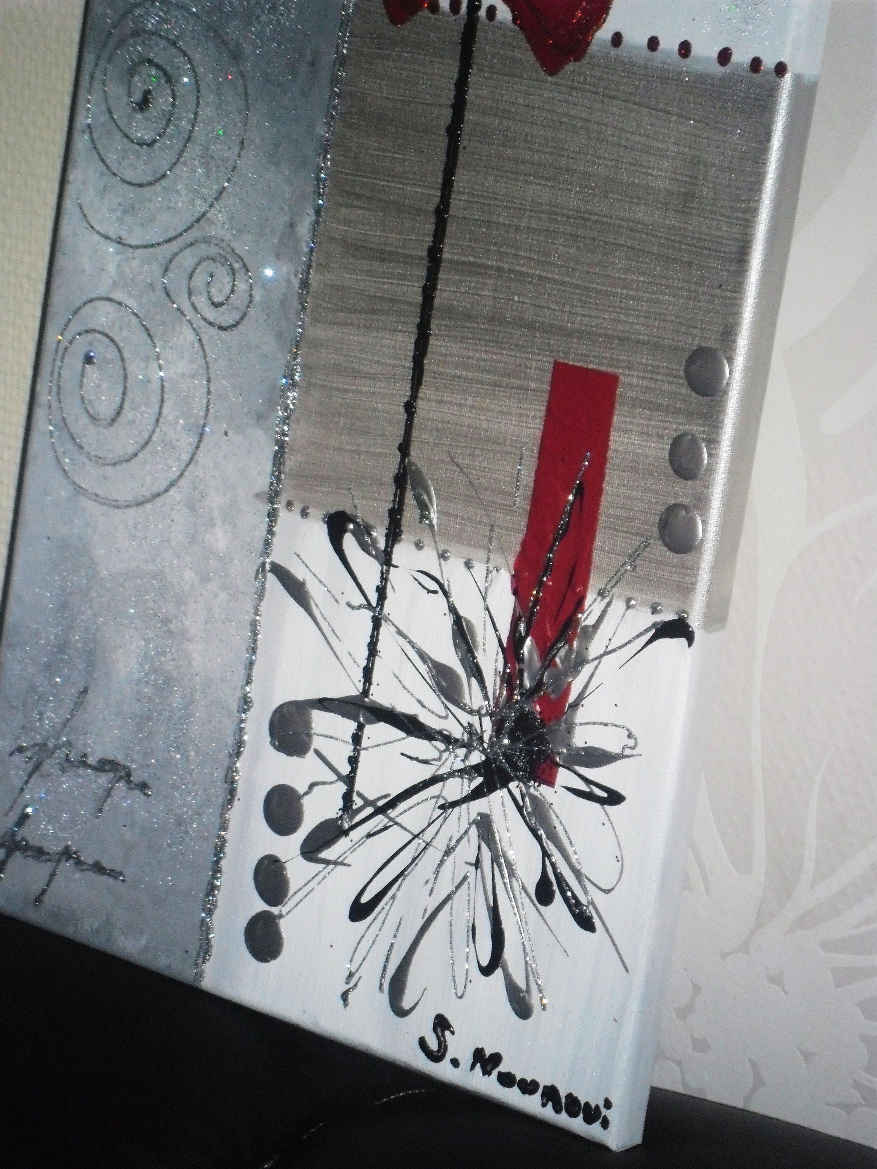 Tableau abstrait blanc argent rouge tableau home deco de for Tableau gris et rouge