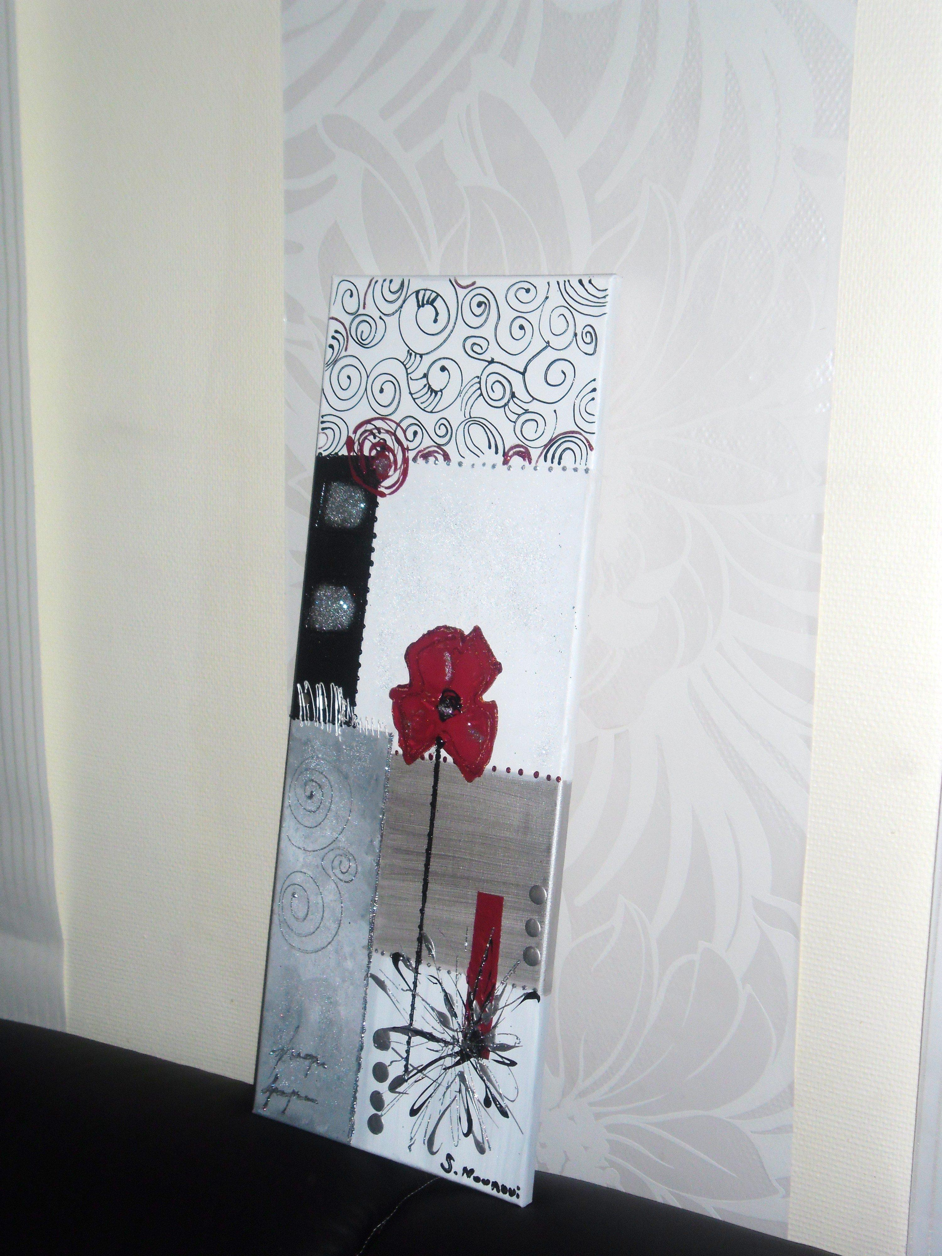 tableau abstrait blanc argent rouge tableau home deco de sabine nouaoui aux pays d adam. Black Bedroom Furniture Sets. Home Design Ideas