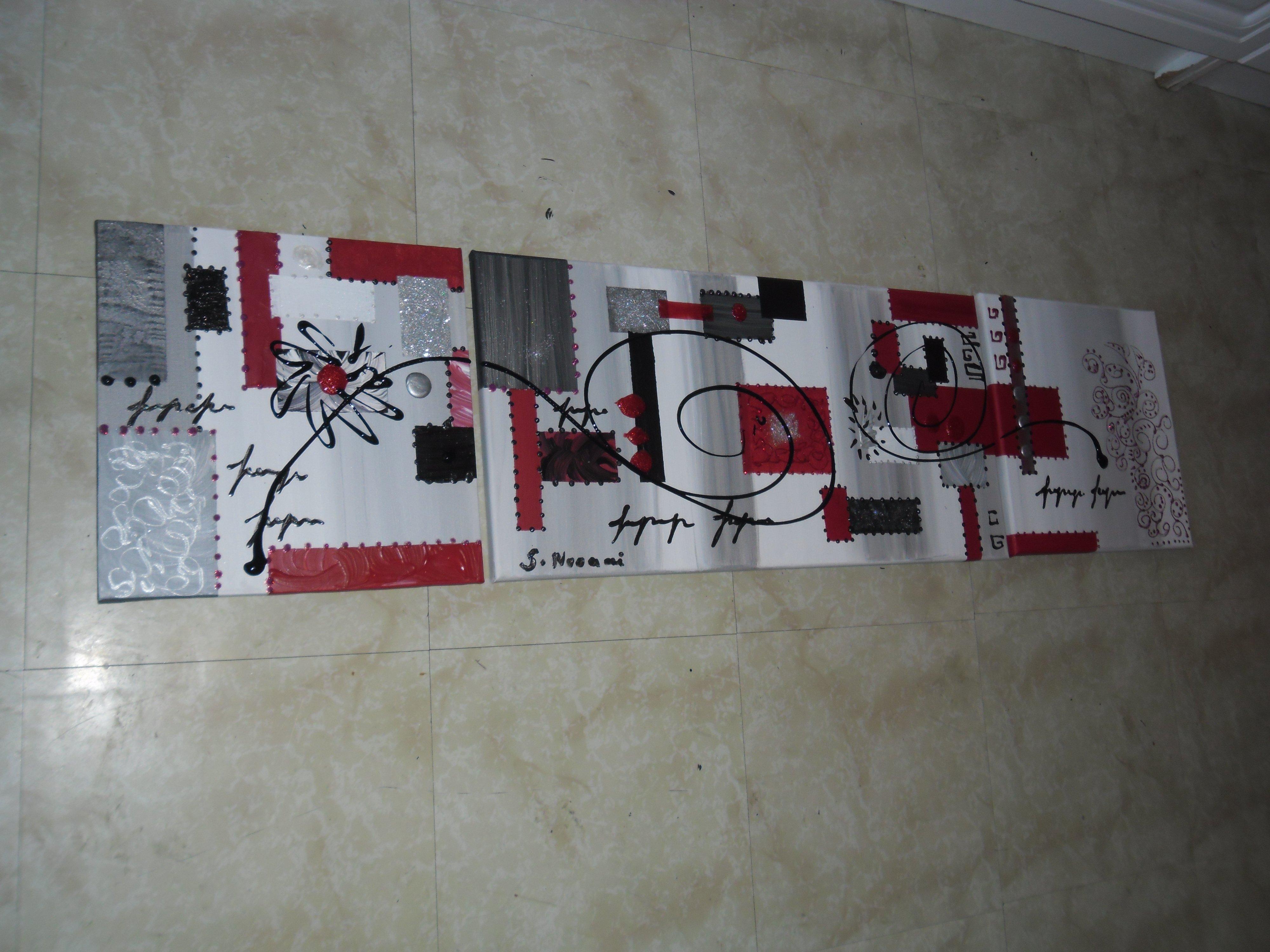 Tableau abstrait rouge blanc argent 120 30 a 30euros tableau home deco de sabine nouaoui aux for Photo de tableau abstrait