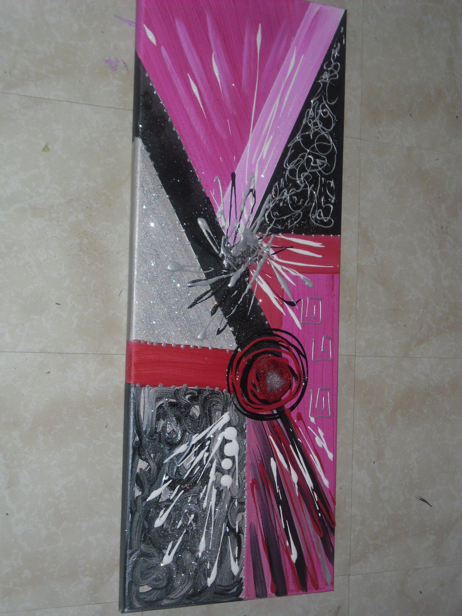 Tableau abstrait fuschia noir tableau home deco de sabine nouaoui aux pays d adam for Peinture rose fushia